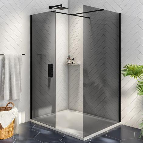 Orbit Noire Wet Room Glass Panel 800mm Wide - 8mm Black Glass