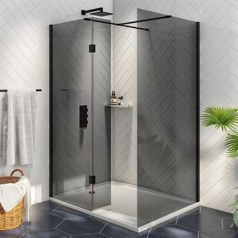 Orbit Noire Wet Room Glass with Deflector Panel (1000mm + 275mm) Wide - 8mm Black Glass