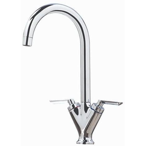 Orbit Olicana Kitchen Sink Mixer Tap Dual Handle - Chrome