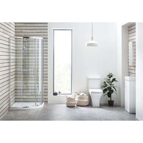 Orbit Porto Bathroom En-Suite with Quadrant Shower Enclosure - 800mm x 800mm