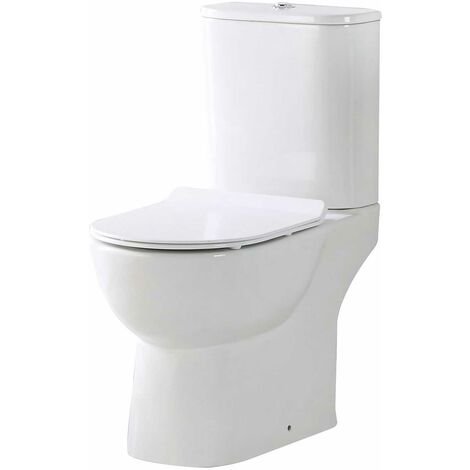 Orbit Riva Open Back Close Coupled Rimless Toilet Push Button Cistern - Excluding Seat