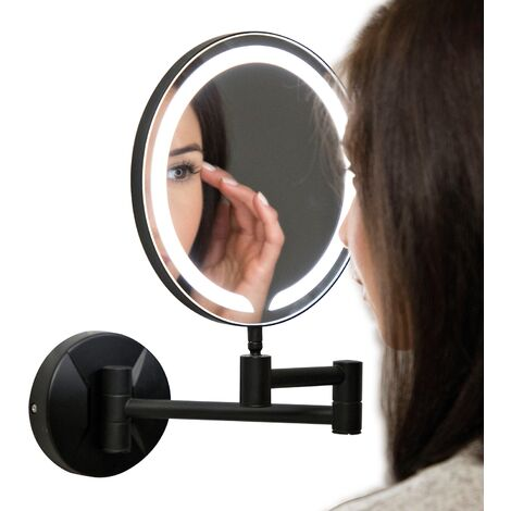 Orbit Round Wall Hung LED Makeup Bathroom Mirror 200mm Diameter - Black