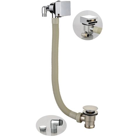 Orbit Square Bath Filler with Sprung Waste and Overflow - Chrome
