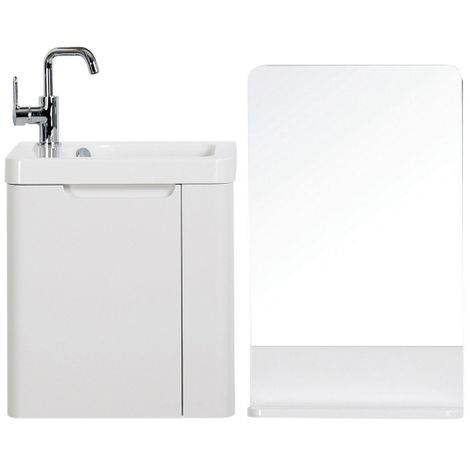 Orbit Supreme Wall Mounted Vanity Unit with Basin and Mirror 450mm Wide - Gloss White