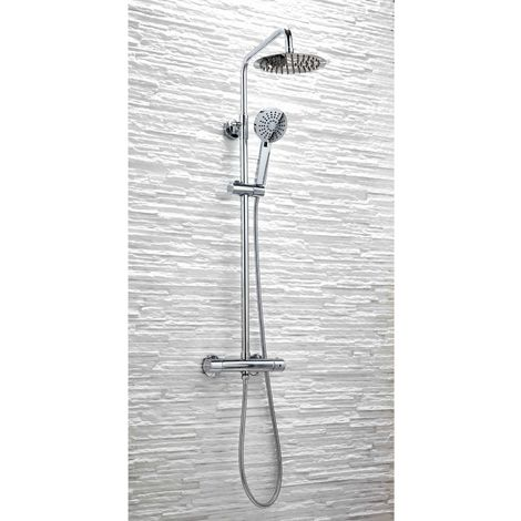 Orbit Thermostatic Round Bar Shower Valve with Shower Kit + Fixed Head - Chrome