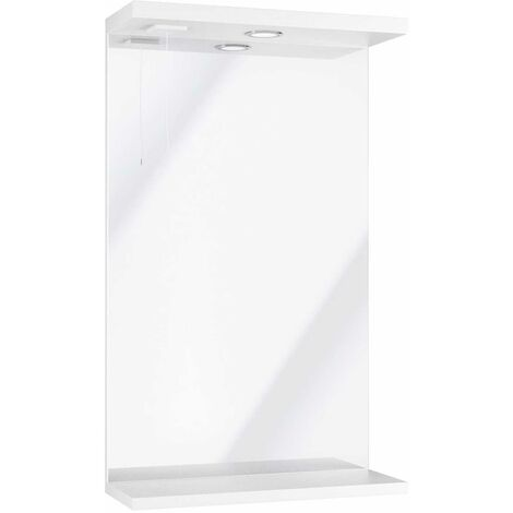 Orbit Verona Bathroom Mirror Unit with Light 750mm H x 450mm W - Gloss White