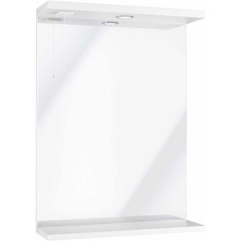 Orbit Verona Bathroom Mirror Unit with Light 750mm H x 550mm W - Gloss White