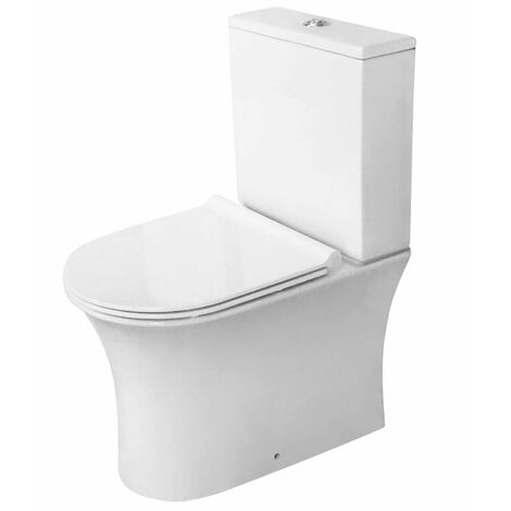 Orbit Viva Fully Back to Wall Close Coupled Rimless Toilet Push Button Cistern - Excluding Seat