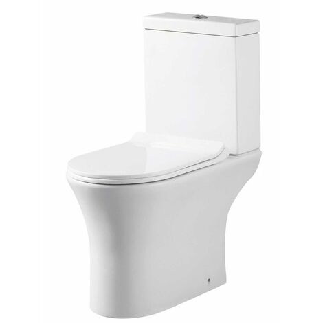 Orbit Viva Open Back Close Coupled Rimless Toilet Push Button Cistern - Excluding Seat