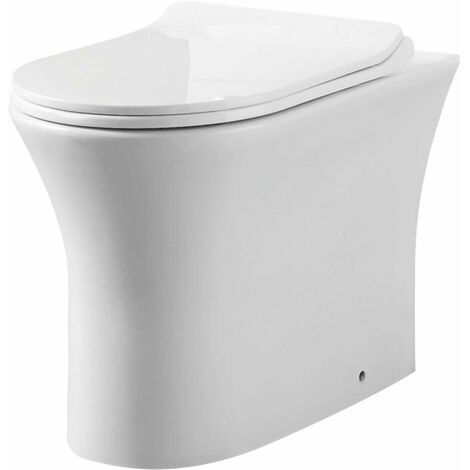 Orbit Viva Rimless Comfort Height Back to Wall Toilet Pan 485mm Projection - White