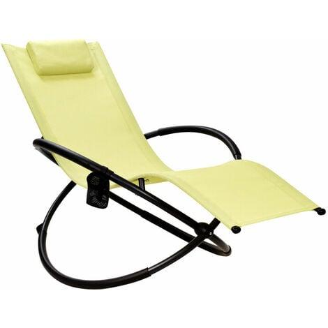 Orbital Lounger Outdoor Patio Rocking Chair Folding Zero-Gravity Rocker W/Pillow