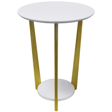 ORBITAL - Retro Wood Round Side Table with Shelf - Natural / White