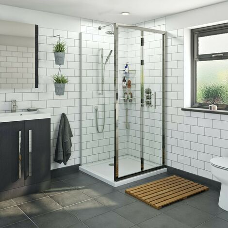 Orchard 6mm bifold shower enclosure with stone tray 900 x 800
