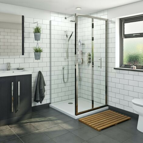 Orchard 6mm bifold square shower enclosure with stone tray 900 x 900