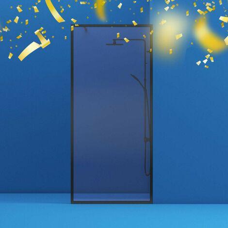 Orchard 6mm black framed wet room glass panel 800mm