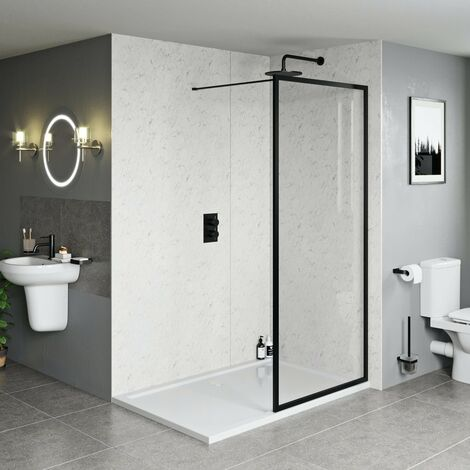 Orchard 6mm black framed wet room glass screen with stone shower tray 1600 x 800