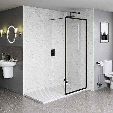Orchard 6mm black framed wet room glass screen with walk in tray 1600 x 800