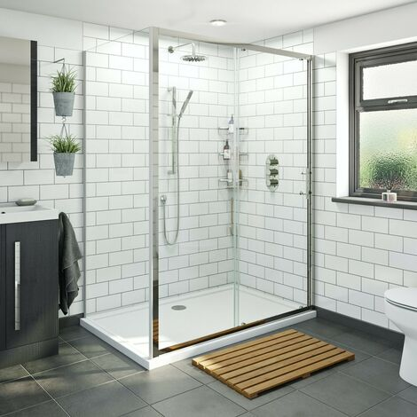 Orchard 6mm framed sliding shower enclosure 1200 x 800 with Mode Harrison thermostatic triple valve shower set