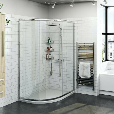 Orchard 6mm left handed offset quadrant shower enclosure and stone shower tray 1200 x 800