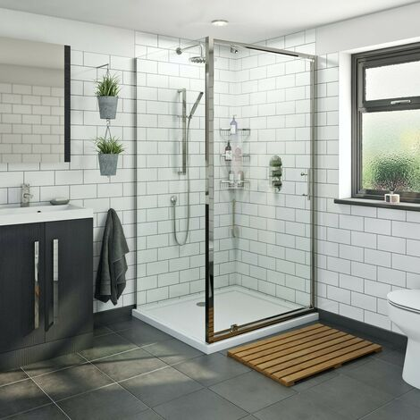 Orchard 6mm pivot hinged rectangular shower enclosure with stone tray 800 x 700