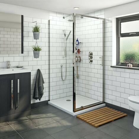 "main image of ""Orchard 6mm pivot hinged square shower enclosure 700 x 700"""
