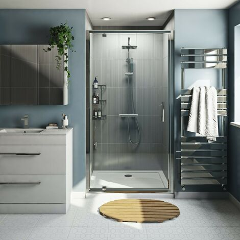 Orchard 6mm pivot shower door with stone tray 760 x 760