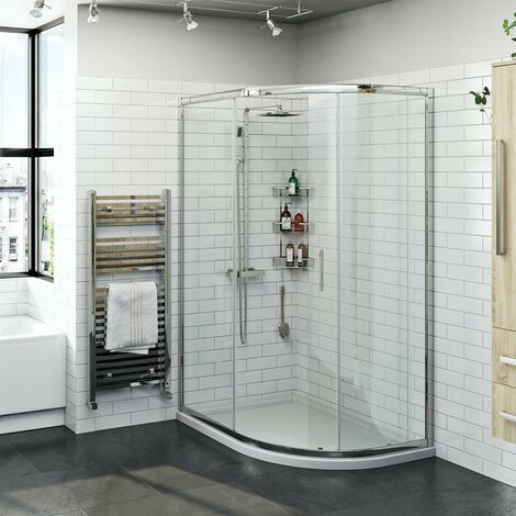 Orchard 6mm right handed offset quadrant shower enclosure and stone shower tray 1200 x 800
