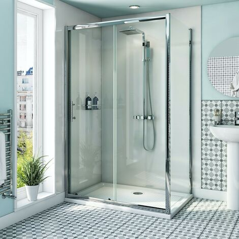 Orchard 6mm sliding shower enclosure with anti-slip tray 1200 x 800