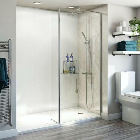 Orchard 6mm walk in glass panel pack with fixed return panel and walk in shower tray 1600 x 800