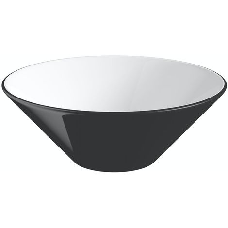 Orchard Caspian black and white coloured countertop basin 425mm