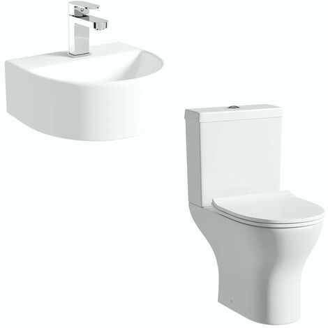 Orchard Compact cloakroom suite with contemporary wall hung basin