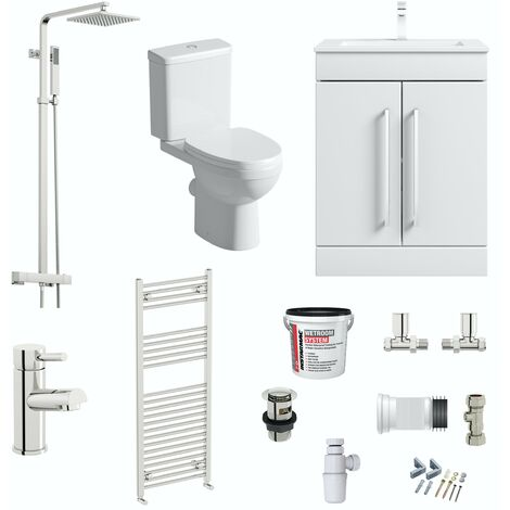 Orchard contemporary complete bathroom furniture suite with towel rail