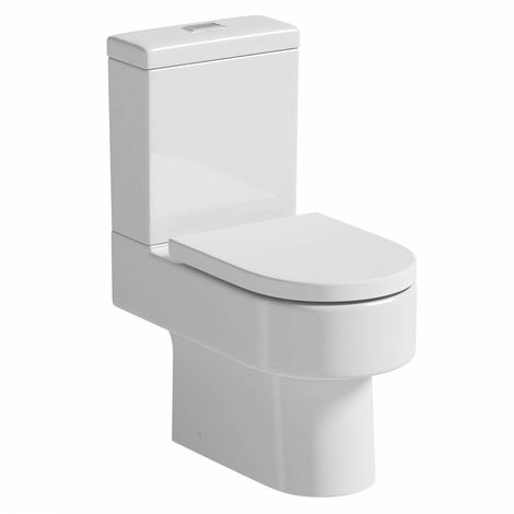 Orchard Dee close coupled toilet with rectangle push button and soft close toilet seat