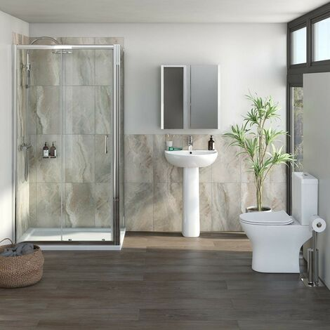 Orchard Derwent complete suite with rectangular enclosure, tray, shower and taps 1000 x 900