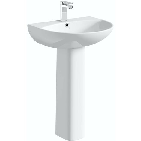 Orchard Derwent round 1 tap hole full pedestal basin 550mm
