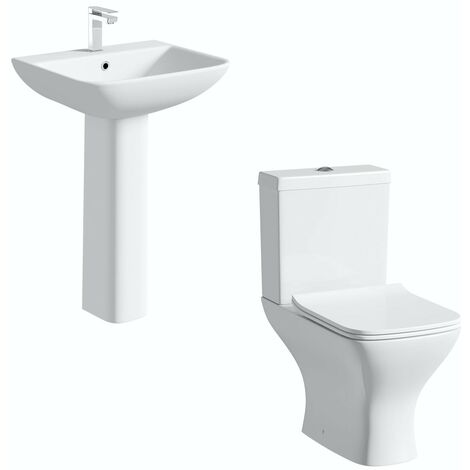 Orchard Derwent square compact cloakroom suite with full pedestal basin 550mm