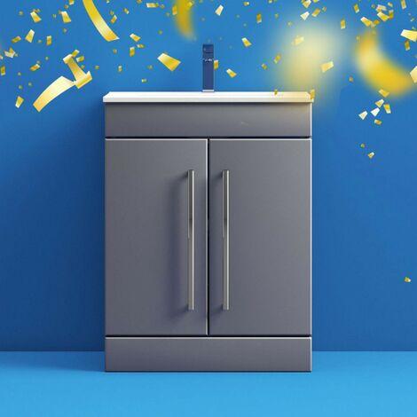 Orchard Derwent stone grey floorstanding vanity door unit and ceramic basin 600mm