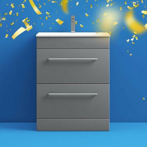 Orchard Derwent stone grey floorstanding vanity drawer unit and ceramic basin 600mm