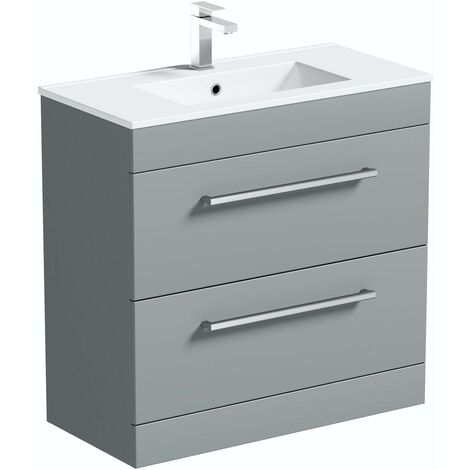 Orchard Derwent stone grey floorstanding vanity unit and ceramic basin 800mm