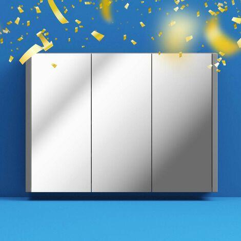 Orchard Derwent stone grey mirror cabinet 650 x 900mm