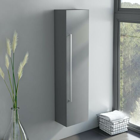 Orchard Derwent stone grey tall wall hung cabinet 1400 x 350mm