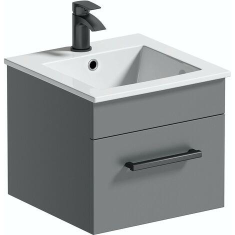 Best Grey Wall Hung Vanity Unit, Mode Meier Grey Wall Hung Vanity Unit And Basin 600mm