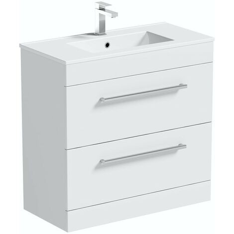 Orchard Derwent white floorstanding vanity unit and ceramic basin 800mm