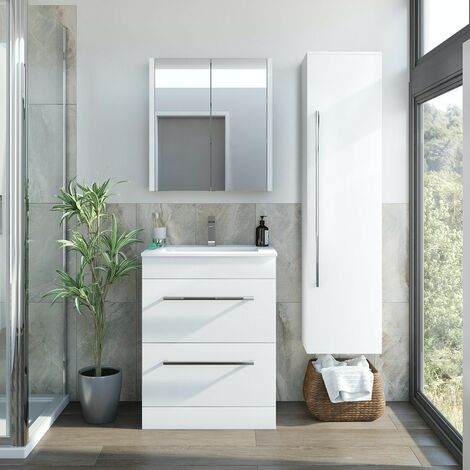 Orchard Derwent white furniture package with floorstanding vanity unit 600mm