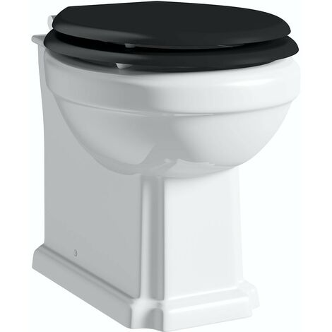 """main image of """"Orchard Dulwich back to wall toilet with black wooden soft close seat"""""""