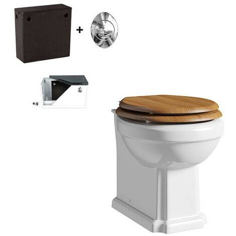 Orchard Dulwich back to wall toilet with oak effect soft close seat and concealed cistern