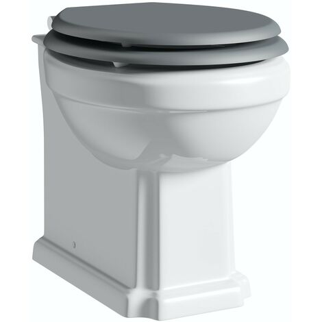 Orchard Dulwich back to wall toilet with stone grey wooden soft close seat
