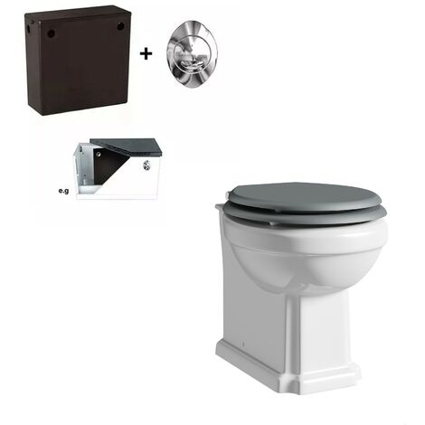 Orchard Dulwich back to wall toilet with stone grey wooden soft close seat and concealed cistern