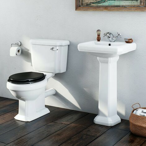 Orchard Dulwich cloakroom suite with black seat and full pedestal basin 571mm