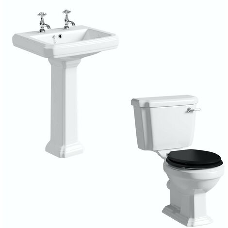 Orchard Dulwich cloakroom suite with black seat and full pedestal basin 585mm